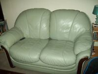 SOFA 2 SEATER AND 2 MATCHING CHAIRS IN GREEN LEATHER