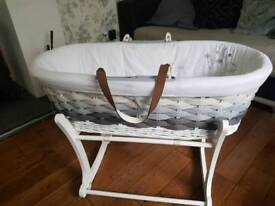 Mothercare ombre moses basket grey with 2x stands