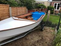 Leader 14ft wooden sailing dinghy boat with cover and trailer