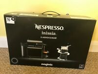NESPRESSO INISSIA black coffee machine & AEROCCINO - MILK FROTHER