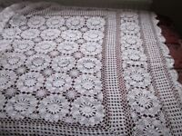 White cotton crocheted tablecloth