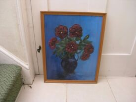 Oil Painting By Local Artist Flowers In Vase Weymouth