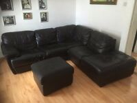 Genuine Leather black corner sofa