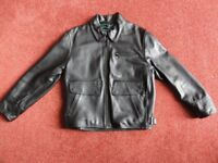 Leather Motorcycle Jacket, Black with Triumph Logo