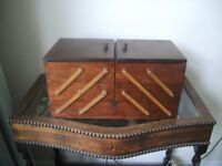 Sewing Box / Large Wooden Cantilever Sewing Box