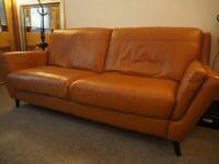 3 Seat Leather Sofa - Tan