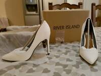 River Island white court shoes