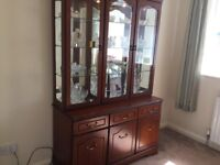 Sideboard / Display cabinet with lights , good quality heavy rosewood furniture