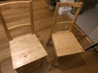 Pair of 2 Ikea wooden dining table chairs £15