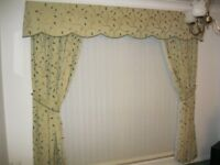 Handmade Heavy Cotton Curtain With Tie Backs and Pelmet - Fully Lined