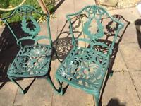 Pair of Cast aluminium bistro garden chairs