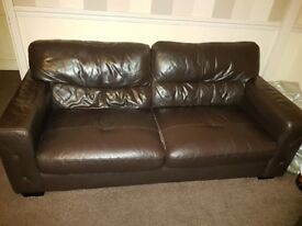 3 3-piece faux leather brown sofas for sale, used