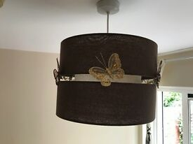 Chocolate & beige large ceiling shade