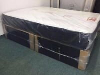 Memory foam black double divan bed. Free delivery
