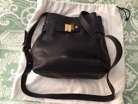 Jaeger black leather cross body bag