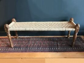 Indian Charpoy day bed hallway or bedroom bench charpai vintage carved wood