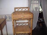 OLD CANE COFFEE TABLE / SHELF UNIT / TELEPHONE TABLE