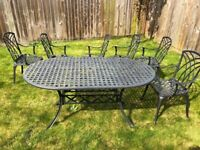 Nice Large Metal 150 x 90 cm Six Seater Table with 3 chairs