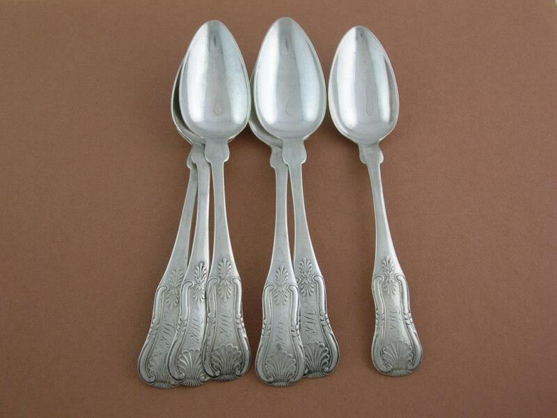 6 Early Coin Silver Spoons FELLOWS & YOUNG King / Kings pattern c1800