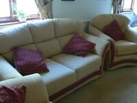 2 seat sofa, arm chairs and Puffa shell and burgundy and cream sofa bed