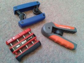 Handheld exercisers to strengthen wrist, forearms, fingers