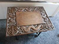 CHINESE CARVED SMALL FOLDING TABLE