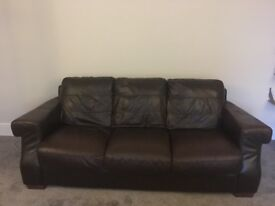3&2 Seater dark brown leather sofa