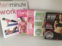 Fitness, Work Out DVDS Charlie Brooks, Charlotte Crosby, Jillian Michaels. Ideal for Boot Sales
