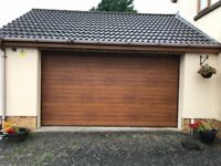 Electric Insulated Garage Doors - Golden Oak / White