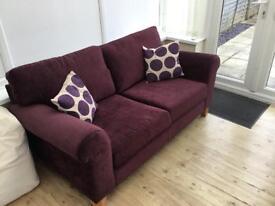 Schreiber Whittlebury Large & Small Sofa Plum Velvet Light Feet
