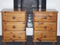 2 solid pine bedside drawers