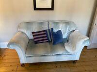 Laura Ashley Blue Velvet Sofa