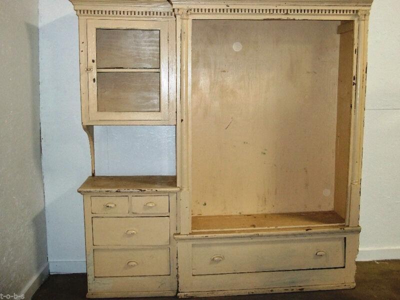 Antique Vintage Rustic Display Cabinet TV Entertainment Center Shelf Cubby
