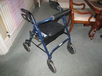 mobility walker-rollator, 4 wheels.