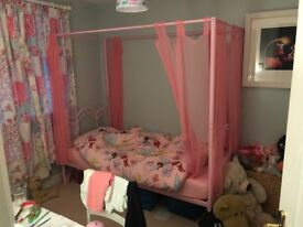 Kids Single Four Poster Bed (Pink) with Curtains