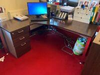 Corner Desk and Drawer