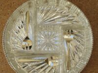 Hors D'Oeuvres dish, silver plated tray, 5 cut glass dishes + 3 silver plated spoons