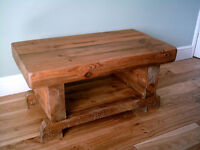 3 Inch Thick Chunky Rustic Coffee Table with Shelf