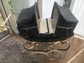 Silver Cross Navy Double Carriage pram