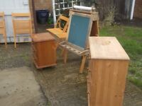 job lot of pine etc, chest of drawers, easel, bedside, folding chairs 8 pces for65