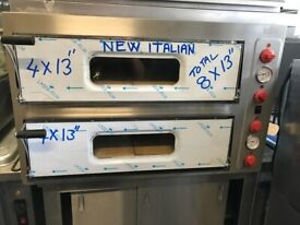 """NEW ITALIAN 8 X 13"""" PIZZA OVEN DOUBLE DECK CATERING COMMERCIAL KITCHEN"""