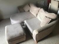 DFS chaise lounge 3 seater sofa with storage foot stool