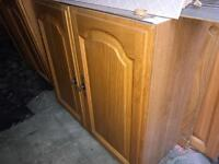 Selection of oak front kitchen units, glass cabinet and oak door fronts