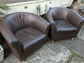 2 brown real leather armchairs