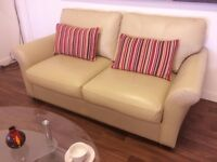 SOFA-BED**BEIGE LEATHER**AS NEW CONDITION**CAN DELIVER**