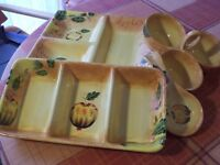 SET ORANGE POTTERY SNACK, BUFFET, SERVING/FINGER BOWLS