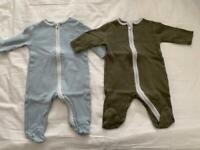 Baby mori zip up sleepsuits newborn