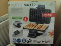 Bifinett Waffle Maker for two thick square Belgian Waffles. Non Stick. Variable brownig control.
