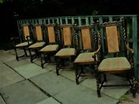 Antique Oak Dining Chairs set of 6