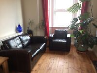 Leather sofa & armchair - in great condition